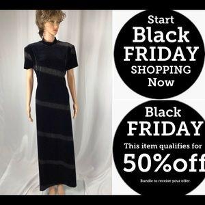 Black Stretch Velvet Dress with Caviar Glitter